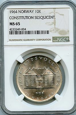 Amazing 1964 NGC MS65 Norway 10K Constitution Sesquicent NR08
