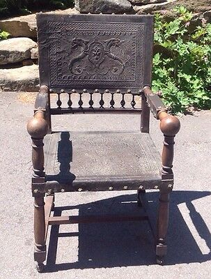 Antique Leather Chair Gothic Medieval Tooled Dragon