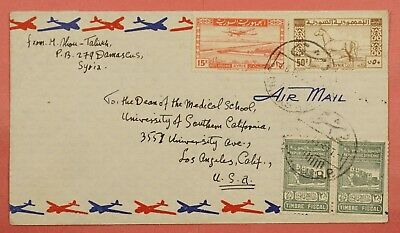 1949 Syria Quad Franked Airmail Cover Damascus To Usa