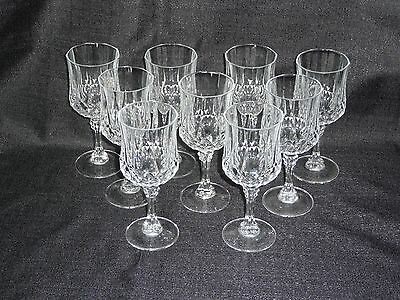 Cristal D'Arques Durand Longchamp Wine Glasses Set of 9