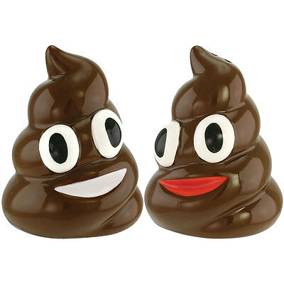 NEW Ceramic Smiling Poop Salt & Pepper Shakers - Cute Funny Emoji w/ Easy Refill