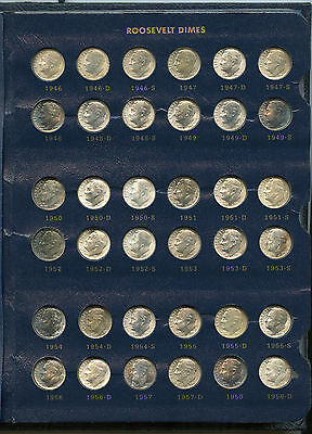 Roosevelt Dimes 1946 - 2012 Coin Set Collection & Whitman 9119 Album - KY541