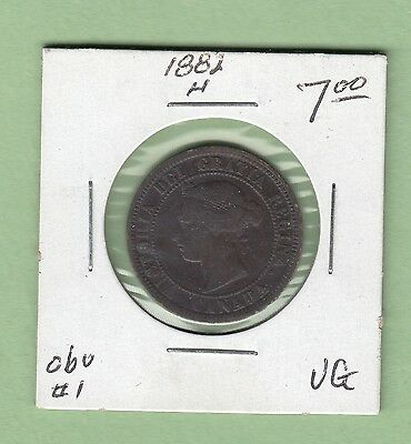 1882-H Canadian Large Cent Coin - Obverse 1 - VG