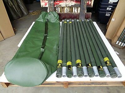 Military Used Ribbed 4' Aluminum Antenna Tower Mast Sections With Used Carry Bag