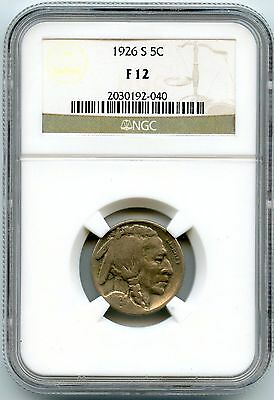 1926-S Indian Head Buffalo Nickel NGC F 12 Certified - San Francisco Mint KY565