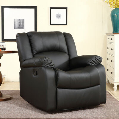 Recliner and Rocking Swivel Black Plush Over Stuffed Faux Leather Comfy Chair