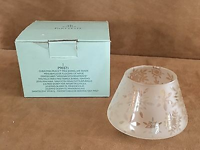 PartyLite clear winter Candle Christmas Peace Mini Barrel Jar Shade p90371
