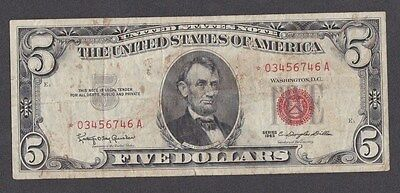 1963 SERIES   FR1536* 5 Dollar RED SEAL U. S. STAR Note LADDER UP *03456746A