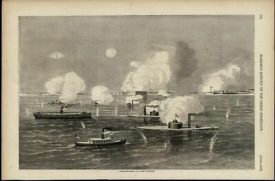 Bombardment of Fort Sumter Gun Boats Artillery 1866 great old print for display