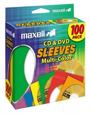 Maxell MultiColor CD/DVD Sleeves 100 Pack (190132)