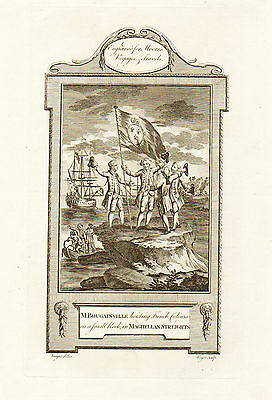 1778 Print of LOUIS BOUGAINVILLE Claiming the Magellan Straits for the French