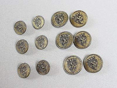 Rampant Lion Shield Set of 12 Antique Brass Metal Blazer Buttons 6 Front 6 Cuff