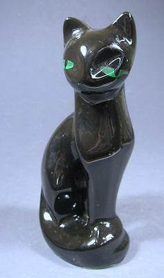 Retro/vintage 70s ceramic black cat figurine/statue - kitsch made in Taiwan