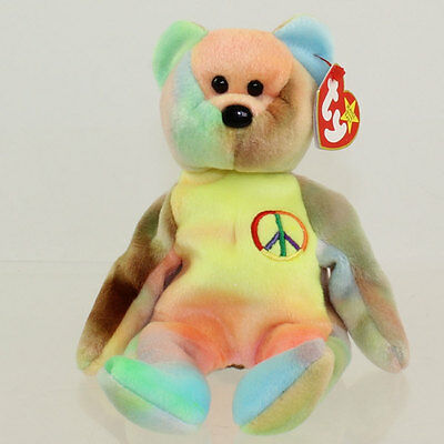 TY Beanie Baby - PEACE the Ty-Dyed Bear (Yellow/Orange) (8.5 inch) MWMTs