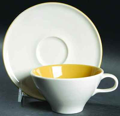 Iroquois ACCENT MUSTARD YELLOW Cup & Saucer 7615665