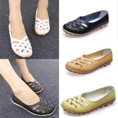 Women's Leather Comfort Casual Walking Hollow Lazy Flat Shoes Loafers Moccasin