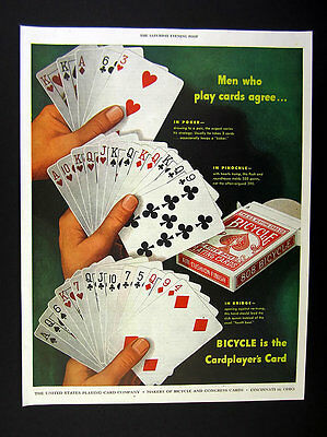 1947 Bicycle Playing Cards Poker Pinochle Bridge Card Hands art vintage print Ad