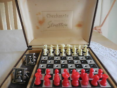 Checkmate Chess Set And Pawn Cuff Links  By Stratton England In Case