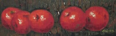 Bolger Five Red Apples Mid-Century Original Oil Board Fruit Painting