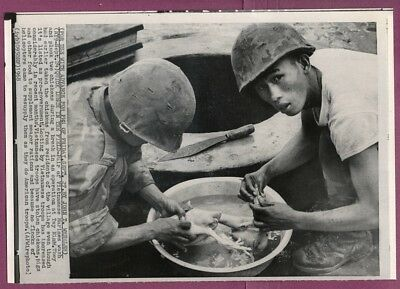 1968 Vietnamese Marines with Looted Chicken Prepare Meal Original Wirephoto