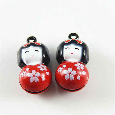 5 pcs Red Enamel Plated Japanese Doll Bell Charm Pendant Jewelry Findings 52435