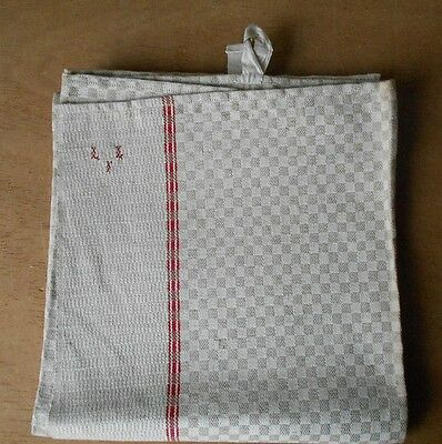 Antique french  HAND DISH TOWEL Red Monograms  L.L.I - checkered -