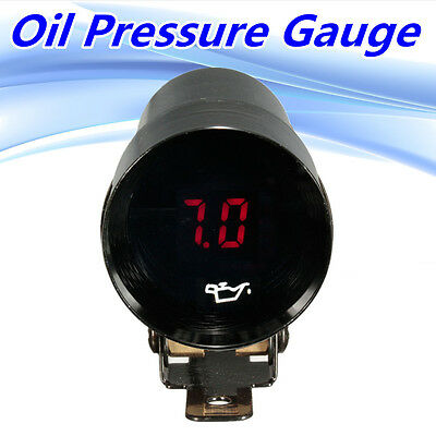37Mm Car Led Oil Press Pressure Gauge Meter Pointer + Sensor Digital Smoked Lens