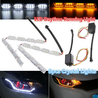 2x 8 LED Car DRL Day Strip Light Lamp Sequential Signal Switchback White Amber