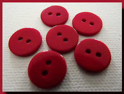 17 mm  2 trous LOT 6 BOUTONS  NEUFS Rouge Red button mercerie couture 1,7 cm
