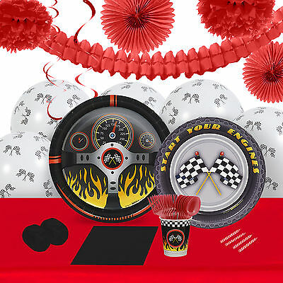 Racecar Racing Party 16 Guest Tableware Decoration Kit