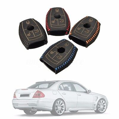 Leather Smart Car Key Cover For Mercedes-Benz E Class W203 W210 W211 AMG W204