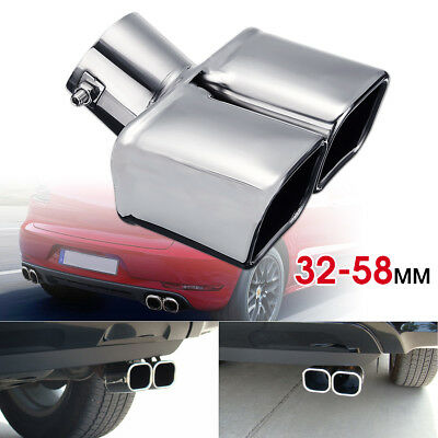 Universal Twin Double Curved Exhaust Tailpipe Tail Trim Pipe Tip Muffler 32-58mm