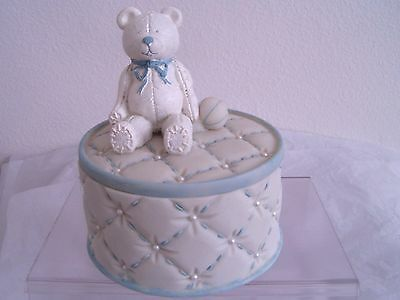 Boys Oval Quilted Trinket Box By Dezine Ltd, Bear On Lid, Blue, Round, Sm Pearls