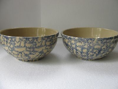 Lot Of 2 Robinson Ransbottom Roseville Pottery Blue Spongeware Cereal Soup Bowls