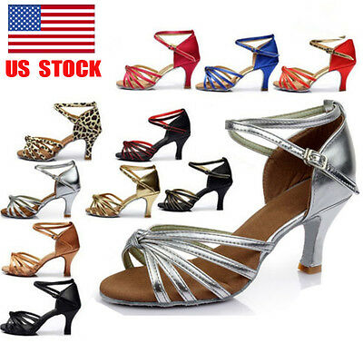 Women Soft Bottom Ballroom Latin Salsa Tango Rumba Samba Dance Shoes Sandals 7cm