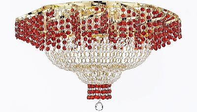 """Moroccan Style French Flush Empire Crystal Chandeliers H19.5"""" W24"""" Dressed With"""