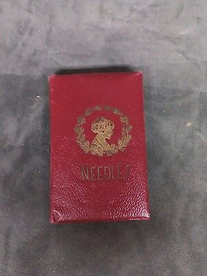 Antique Heath & Gills Gold Eyes Superfine Needles Leather Book Girl 1914 Red Sew