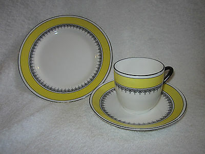 Art Deco Foley Yellow With Black Bands  Trio Cup Saucer Tea Plate