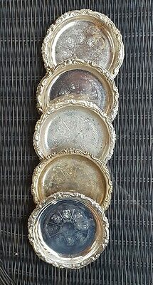 Set of 5 Vintage Silver Plated Engraved Coasters Made in Italy