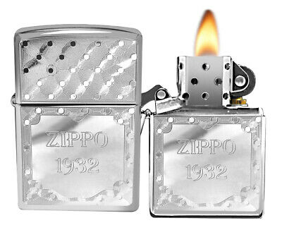 Zippo 250 1932 Regular High Polish Chrome Windproof Pocket Lighter NEW