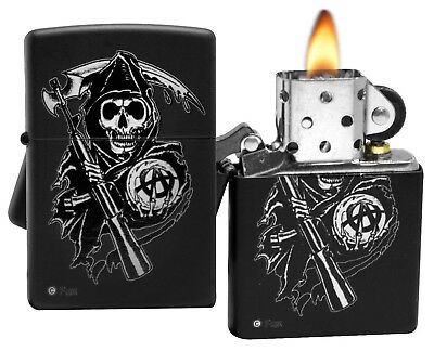 Zippo Lighter 28504 Sons of Anarchy Grim Reaper Black Matte Windproof NEW