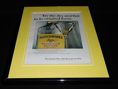 1968 Fleischmann's Gin Framed 11x14 ORIGINAL Vintage Advertisement