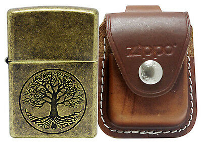 Zippo 29149 Tree of Life Antique Lighter + LPLB Brown Leather Pouch Clip