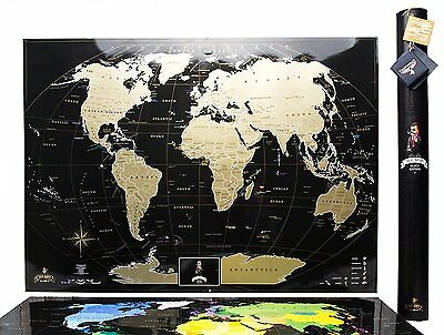 Premium Gift Gold Black World Scratch Off Map Personal