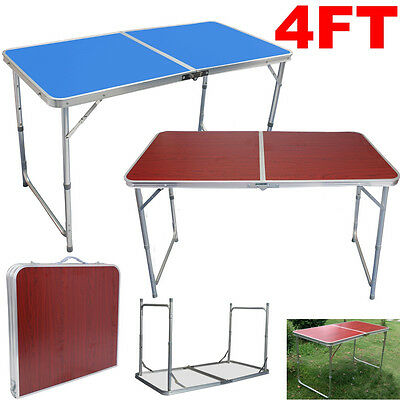 4FT Aluminium Adjustable Folding Table Outdoor Camping BBQ Picnic Party Garden