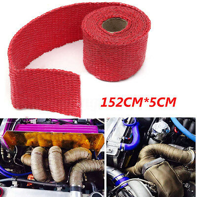 152CM Exhaust Manifold Heat Wrap Shield Turbo Pipe Header Insulation Tape Red
