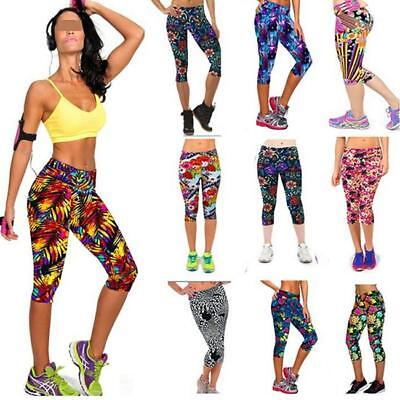 Womens 3D Yoga Gym Pants Running Sports Cropped Leggings Fitness Workout Capri