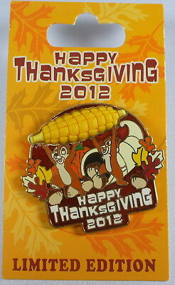 Disney Happy Thanksgiving 2012 Chip & Dale Limited Edition Pin