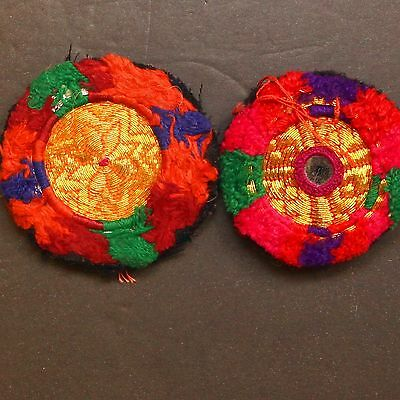 Matched PAIR BellyDance GUL Kuchi Tribal BEADED Medallions (XS) 838y3
