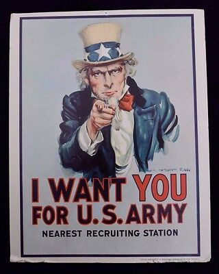 Vintage UNCLE SAM 1968 I WANT YOU FOR U.S. ARMY Government Sign Poster Cardboard